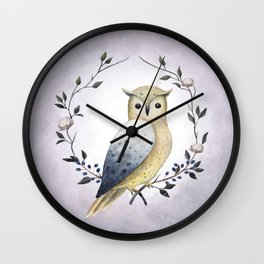 A Long Eared Owl On A Laurel Wall Clock