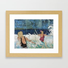 Playing in the surf at Burgh Island by Jackie Wills Framed Art Print