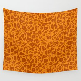 Alphabet Compendium Letter Silhouette Pattern - Orange Wall Tapestry