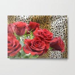 Leopard Roses // Wild Roses, Red Flowers Metal Print