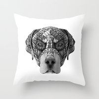 rottweiler Throw Pillows featuring Ornate Rottweiler by Adrian Dominguez