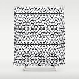 Triangles in Triangles Black on White Shower Curtain