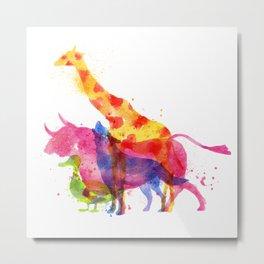 Colorful animals overprint Metal Print