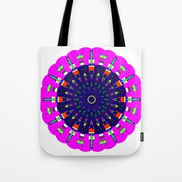 Mandala Bright City Scape in Pink Green Yellow Blue Tote Bag