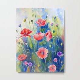 Watercolor red poppy field, wildflower meadow Metal Print