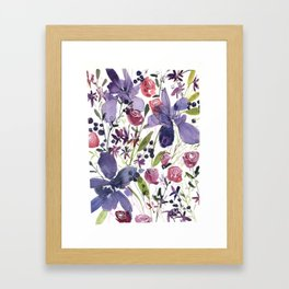 Purple and Red Flowers of July Framed Art Print