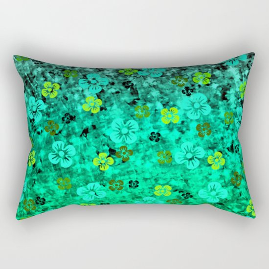 LUCK OF THE IRISH Colorful Emerald Green Ombre St Patricks Day Floral Shamrock Four Leaf Clover Art Rectangular Pillow