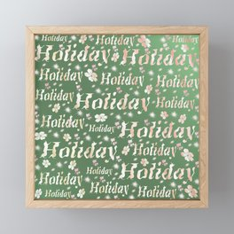 shiny font happy holidays in green rose Framed Mini Art Print