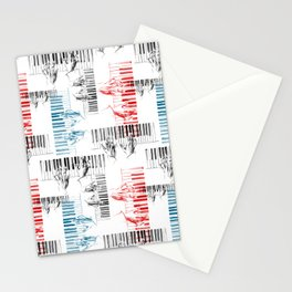 A piano pattern in black/red/blue Stationery Cards