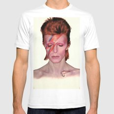 David Bowie Mens Fitted Tee LARGE White