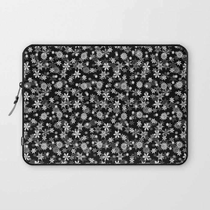 Festive Black and White Christmas Holiday Snowflakes Laptop Sleeve