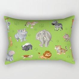 African Animals-Kids Green background Rectangular Pillow