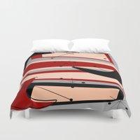 mid century modern Duvet Covers featuring Mid-Century Modern Boomerangs by Kippygirl