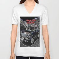 jeep V-neck T-shirts featuring JEEP JPATW by Dmarmol