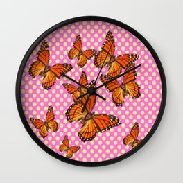 SUMMER MONARCH BUTTERFLIES OPTIC ART Wall Clock