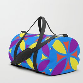 Geometric Floral Circles Vibrant Color Challenge In Bold Red Yellow Purple & Blue Duffle Bag