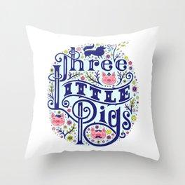 Three Little Pigs art print Throw Pillow