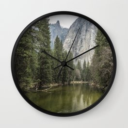 Cathedral Rocks and Spires behind Merced River Wall Clock