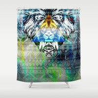 lion king Shower Curtains featuring KING LION by sametsevincer