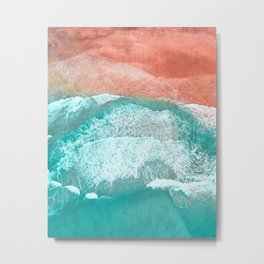 The Break - Turquoise Sea Pastel Pink Beach III Metal Print