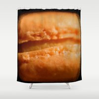 macaron Shower Curtains featuring Pumpkin Macaron ttv photo by CAPow!
