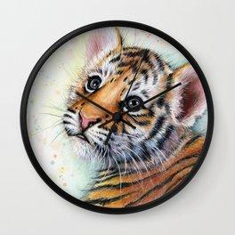Tiger Cub Watercolor Wall Clock