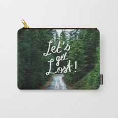 Let's get Lost! - Quote Typography Green Forest Carry-All Pouch