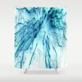 Special Fireworks, aqua Shower Curtain