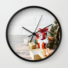 Christmas little tree gifts boxes New Year Christmas background Wall Clock