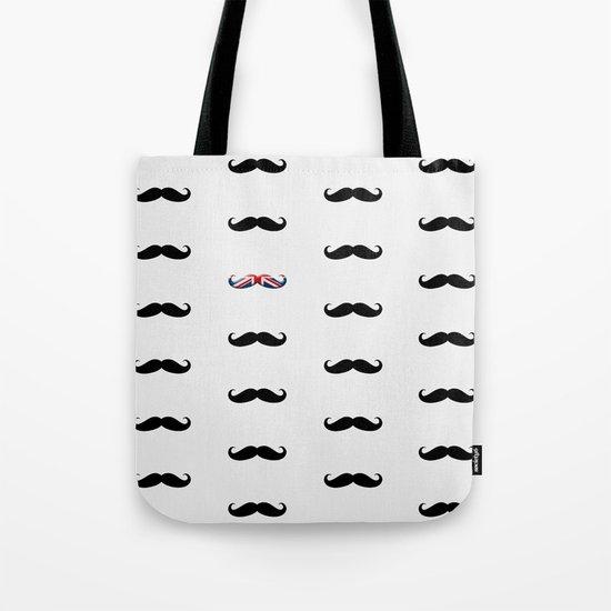 Union Jack Mustache Tote Bag