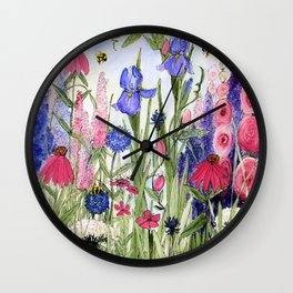 Colorful Garden Flower Acrylic Painting Wall Clock