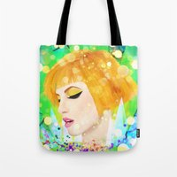 hayley williams Tote Bags featuring Digital Painting - Hayley Williams by EmmaNixon92