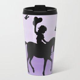 Girl and horse silhouette lavender Travel Mug