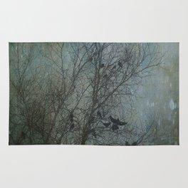 Blackbird Convention on a Snowy Day Rug
