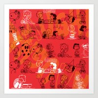 snoopy Art Prints featuring SNOOPY AAUGH! by d.ts