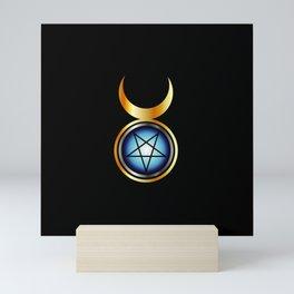 Inverted pentagram with triple goddess Mini Art Print