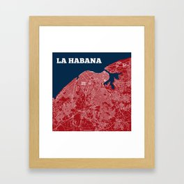 Havana Streets Map 2016 Framed Art Print