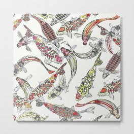 lucky koi off white Metal Print