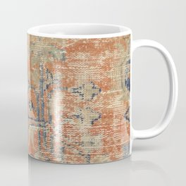 Vintage Woven Navy and Orange Coffee Mug