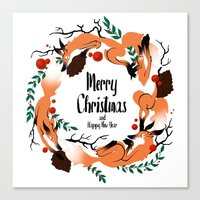 merry christmas Canvas Prints featuring Merry Christmas by Anya Volk