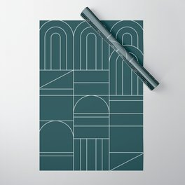 Deco Geometric 04 Teal Wrapping Paper