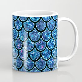 Sparkly Turquoise & Blue & Glitter Mermaid Scales Coffee Mug