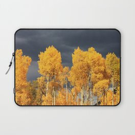 Golden Aspens and an Impending Storm Laptop Sleeve