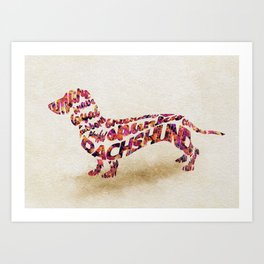 The Dachshund Dog Typography Art / Watercolor Painting Art Print