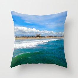 Huntington Beach Surfers Throw Pillow