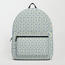 Yellow & Blue Geometric Greek Key Pattern Backpack