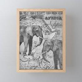 African Spirit Vintage Elephant black white Framed Mini Art Print