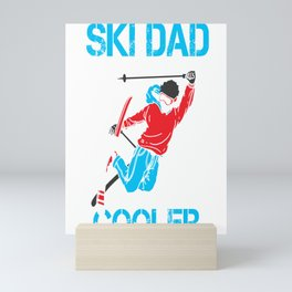 Ski Dad Gift Skiing Skier Men Daddy Shirt Mini Art Print