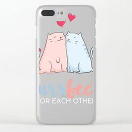 Evergreen   Love   Purr fect for each other Clear iPhone Case