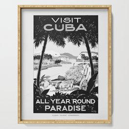 retro monochrome Visit Cuba Serving Tray
